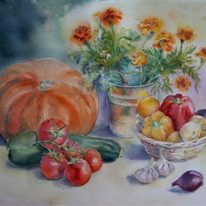 Vitamiinid söögiks, akvarell, 57×76 cm