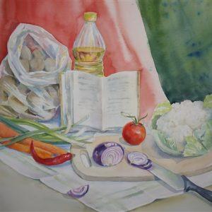 Tervislik õhtusöök, akvarell, 57×76
